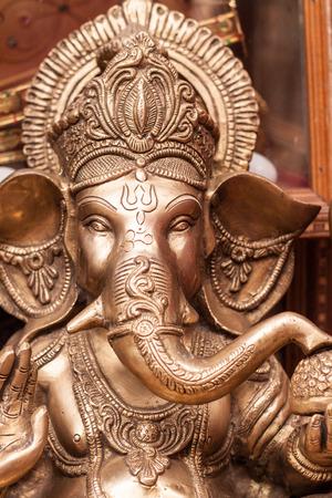 A brass statue of Ganesh