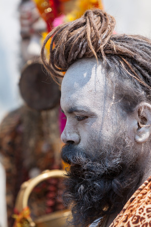 KEDARNATH, INDIA - JUNE 1 - 2013 - A naga sadhu at the shrine of Kedarnath in North India.