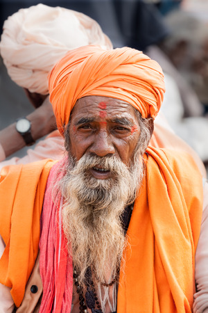sectarian: ALLAHABAD, INDIA - FEB 12th - An old sadhu at the Kumbha Mela on February 12th 2013 Editorial