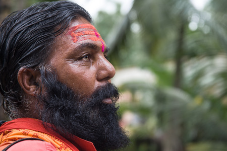 Indian sadhu wearing sectarian markings.
