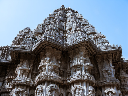 The outside of one of the shrines of Keshava at the 13th Century temple of Somanathapur, Karnataka, South India.