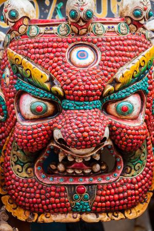 A traditional Buddhist demon mask in Bhaktapur, Nepal