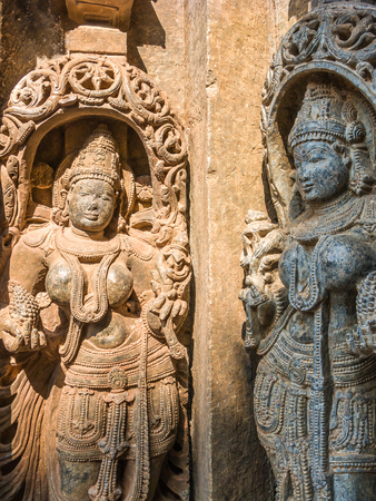 goddesses: Carvings of goddesses at the 13th Century temple of Somanathapur, South India. Stock Photo