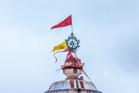 A close up of the disc on top of the famous temple of Jagannath in Puri, Orissa, India.
