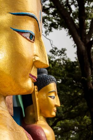 Two huge golden buddhas in Nepal.