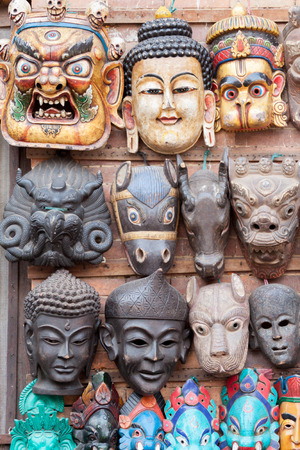 tantra: A traditional Buddhist demon mask in Bhaktapur, Nepal