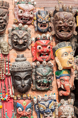 tantra: Traditional Buddhist masks in Swayambhunath, Nepal. Stock Photo
