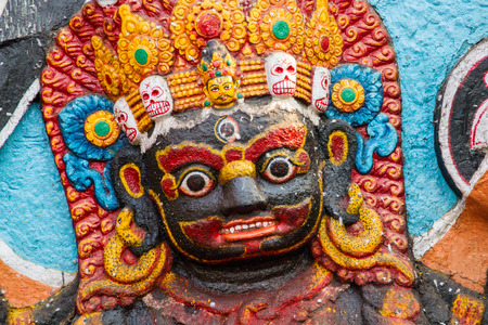 The Hindu god Kala Bhairava, a fierce form of Shiva in Durbar Square, Kathmandu, Nepal.