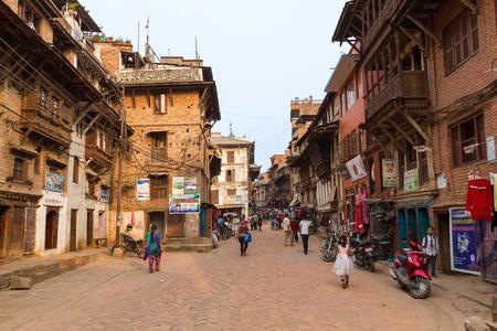 nepali: BHAKTAPUR, NEPAL, APRIL 30th - the streets of the medieval town of Bhaktapur, Nepal on April 30th 2014