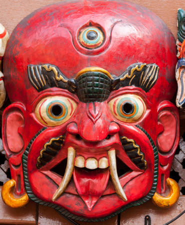 BHAKTAPUR, NEPAL APRIL 30 - A traditional Buddhist demon mask in Bhaktapur, Nepal on April 30th 2014