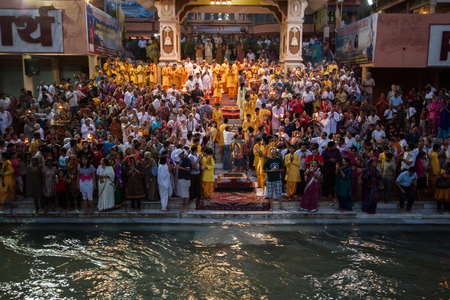 India, Rishikesh - 15th May 2013 - Devotees prepare to perform worship of the Goddess Ganga at an ashram in Rishikesh Editorial