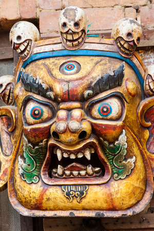 tantra: BHAKTAPUR, NEPAL APRIL 30 - A traditional Buddhist demon mask in Bhaktapur, Nepal on April 30th 2014