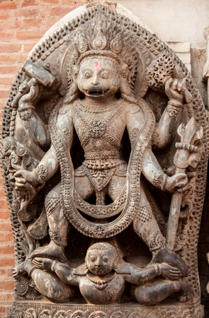 A sculpture of the Hindu monkey-god Hanuman in his tantric form of Hanuman-Bhairava in Bhaktapur. Stock Photo
