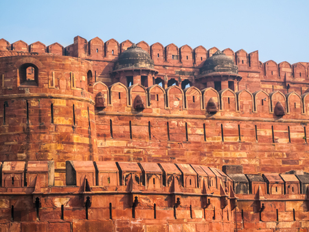 The walls and battlements of the Agra fort built by the Mughals in the Indian State of Uttar Pradhesh.
