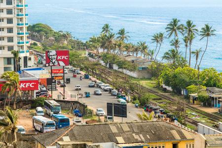 Colombo, Sri Lanka - Circa November 2016: Kentucky Fried Chicken Retail Fast Food Location on a Busy Road Near the Ocean.