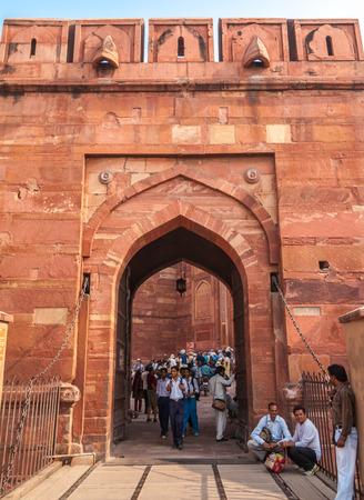 uttar pradesh: Agra Fort, Agra, India - Oct 14 2009: Tourists in the Agra Fort in Uttar Pradesh India.