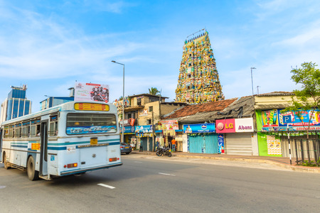 colombo: Colombo, Sri Lanka - Circa November 2016: Traffic in front of a Hindu Temple on Galle Road, Colombo, Sri Lanka