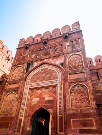 uttar pradesh: The keep Gate in the first courtyard of the Agra Fort in Uttar Pradesh India.