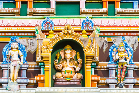 Ganesh the Elephant God on the tower of a Hindu Temple in Colombo, Sri Lanka.