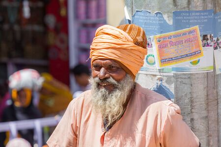 sadhu: BADRINATH - INDIA, JUNE 5th - An old sadhu at the temple of Badarinath in North India on June 5th 2013