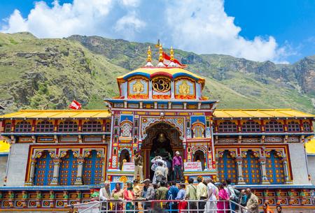 BADRINATH, UTTARAKHAND, INDIA - CIRCA MAY 2013: Hindu pilgrims ascend the steps to the temple of Badri-Narayana in the Himalayan State of Uttarakhand, India.