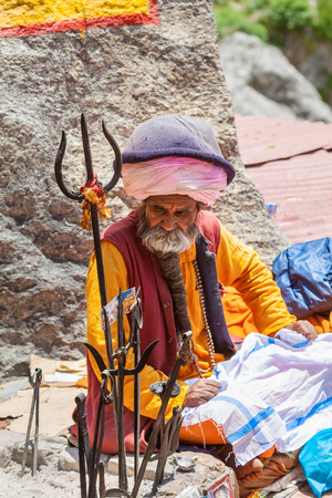 BADRINATH - INDIA, JUNE 5th - An old sadhu at the temple of Badarinath in North India on June 5th 2013