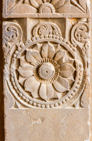 abhaneri: Carved pillars at the Chand Baori stepwell in Abhaneri, Rajasthan, India.