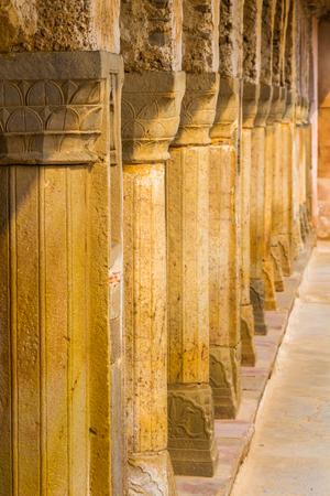 baori: A row of pillars at the Chand Baori Stepwell in Abhaneri, Rajasthan, India.