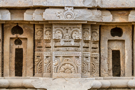 abhaneri: Stone carvings at the Harshat Mata Temple in Abhaneri, Rajasthan, India. Stock Photo
