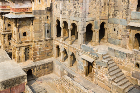 Alcoves at the Chand Baori Stepwell in Abhaneri, Rajasthan, India.