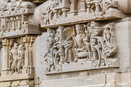 Stone carvings at the Harshat Mata Temple in Abhaneri, Rajasthan, India. Archivio Fotografico