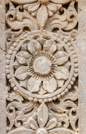 abhaneri: A floral motiff on a pillar at the Harshat Mata Temple in Abhaneri, Rajasthan, India