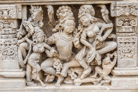 abhaneri: A sculpture of a king and his attendents at the ancient Harshat Mata Temple in Abhaneri, Rajasthan, India.
