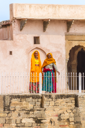 chand baori: Abhaneri, India, 21st January 2017 - Two women at the Chand Baori stepwell in Abhaneri, Rajasthan, India. Editorial