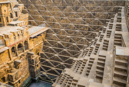 The Chand Baori Stepwell in the Rajasthani village of Abhaneri, North India.