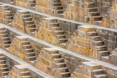 baori: The steps of the Chand Baori Stepwell in Abhaneri, Rajasthan, India.