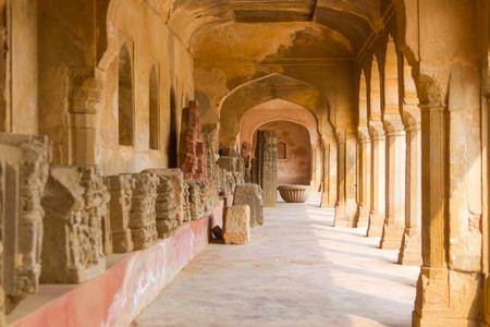 chand baori: A corridor at the ancient Chand Baori stepwell in Abhaneri, Rajasthan, India.