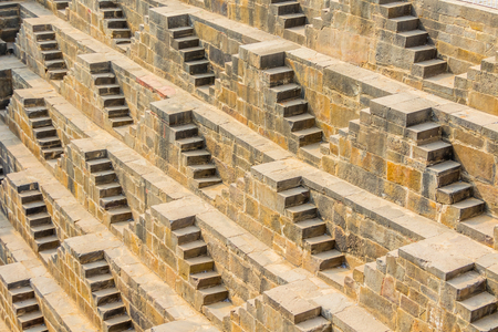The steps of the Chand Baori Stepwell in Abhaneri, Rajasthan, India.