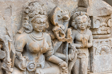 chand baori: A broken sculpture of Goddess Durga at the Chand Baori stepwell in Abhaneri, Rajasthan, North India.