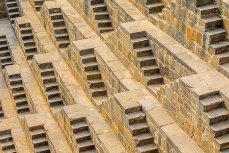 chand baori: The steps of the Chand Baori Stepwell in Abhaneri, Rajasthan, India.