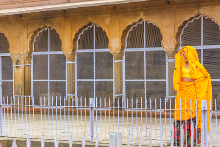 chand baori: Abhaneri, India, 21st January 2017 - A Rajasthani woman at the Chand Baori stepwell in Abhaneri, Rajasthan, India. Editorial