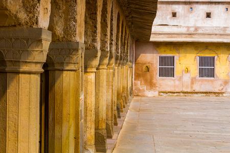 chand baori: A row of pillars at the Chand Baori Stepwell in Abhaneri, Rajasthan, India.