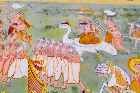 A fresco outside the Mehrangarh Fort depicting the creator Brahma and some sages from Hindu mythology. Editorial