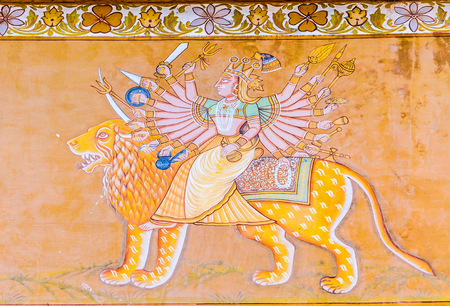 rajasthani painting: A fresco outside the Mehrangarh Fort depicting the Hindu Goddess Durga.