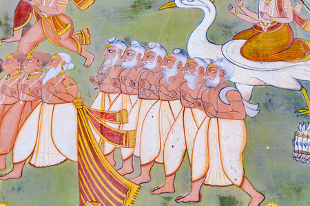A fresco outside the Mehrangarh Fort depicting some sages from Hindu mythology. Editorial