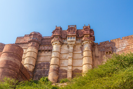 Turrets and walls of the Mehrangarh Fort in Jodhpur.