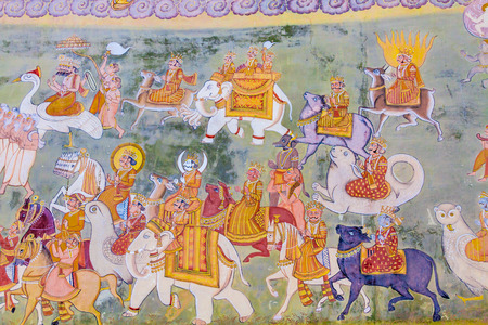 A fresco outside the Mehrangarh Fort depicting gods from Hindu mythology.