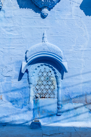 A window of an old house in the Blue City of Jodhpur, India.