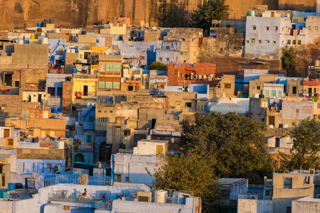 A close up of some of the houses in the blue city of Jodhpur, India.