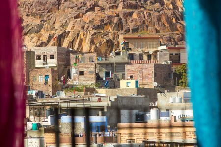 A close up of some of the houses in the blue sity of Jodhpur, India. Stock Photo